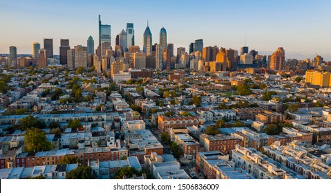 Aerial view over the neighborhoods and streets of Philadelphia PA USA