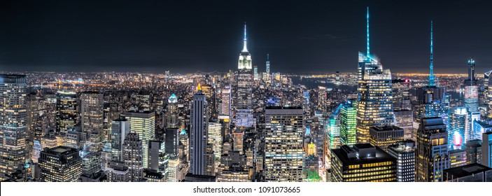 Aerial view over New York City by night
