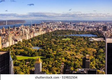 aerial view over New York Central park  and its surroundings