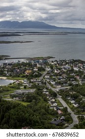 aerial view over the Nowegian city Bodo and the landscape around with mountains and sea; Norway;