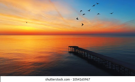 Aerial view over the old broken bridge in the sea and flying birds, sunrise shot