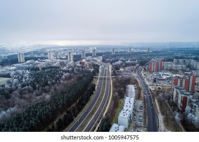 Aerial view over old soviet time architecture in Karoliniskes district, Vilnius, Lithuania. During frosty winter daytime.