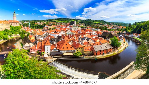 Aerial view over the old Town of Cesky Krumlov, Czech Republi. UNESCO World Heritage Site
