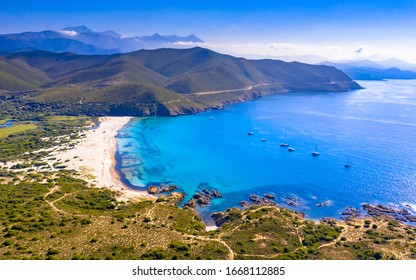 Aerial View over Ostriconi beach on North east coast of Corsica Island near Ile Rousse, Calvi, France