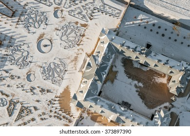 aerial view over the palace and garden