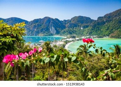 aerial view over Phi Phi island