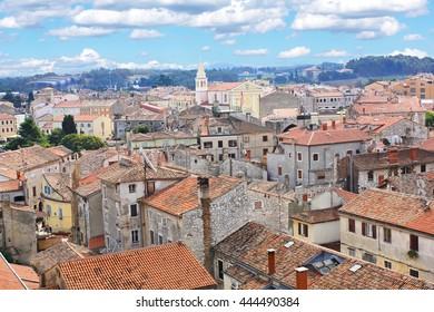 Aerial view over the picturesque city of Porec in Croatia