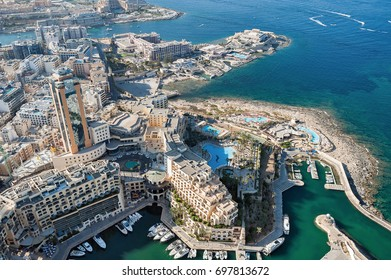 aerial view over the Portomaso Marina and Hilton Malta Hotel in St Julian (Valletta, Malta)