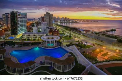 Aerial view over Punta Del Este and Atlantic Ocean on sunset. Uruguay.