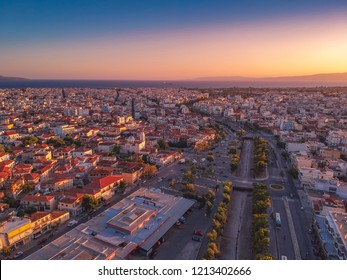 Aerial view over the river of Kalamata City. Kalamata has become a top tourist destination located in Messinia, Peloponnese, Greece.