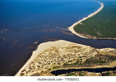 Aerial view over river the mouth
