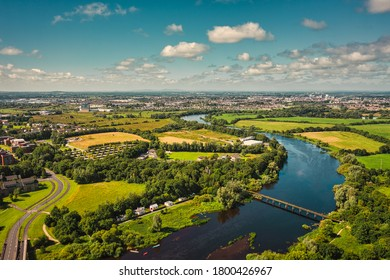 Aerial view over River Shannon, located between County Limerick and  Clare. Irish landscape in summer.