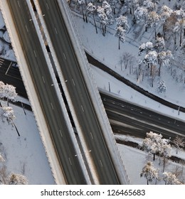 aerial view over the roads