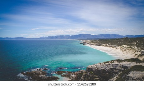 Aerial view over the rocks in the Walkerbay reserve in Gansbaai in the Western Cape of South Africa