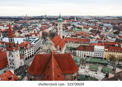 Aerial view over the roofs of Munich, Old Town Hall and Heiliggeistkirche
