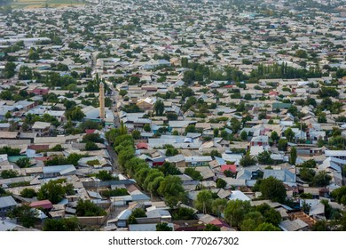 Aerial view over rooftops in Osh city, Kyrgyzstan