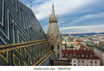 Aerial view over the rooftops of Vienna from the north tower of St. Stephen's Cathedral ,Vienna, Austria.