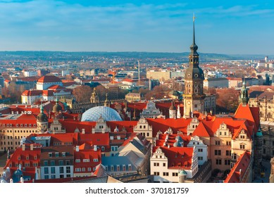 Aerial view over Royal Palace and roofs of old Dresden, Saxony, Germany