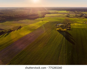 Aerial view over rural village with agricultural green fields in Lithuania, during sundown.