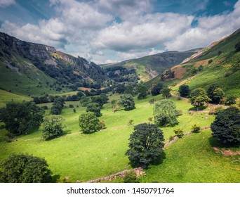 Aerial view over scenic valley of Rhaeadr at bright summer day in Wales, UK