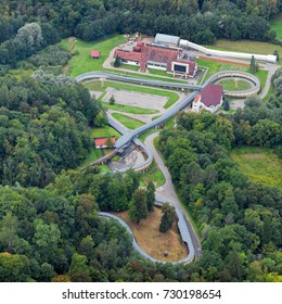 aerial view over the Sigulda Bobsleigh and Luge Track