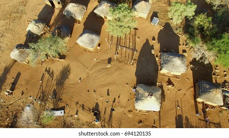 Aerial view over small african village