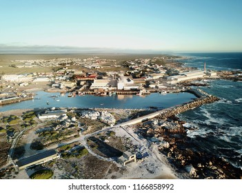 Aerial view over small fishing harbor