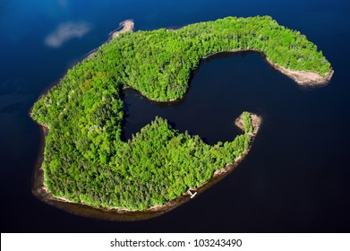 Aerial view over the small island