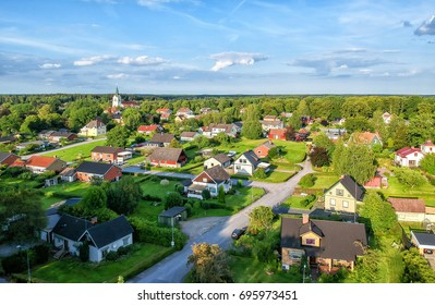 Aerial view over small Swedish village