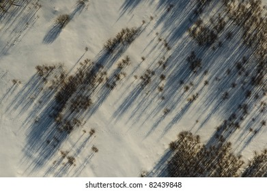 aerial view over snowy field and trees