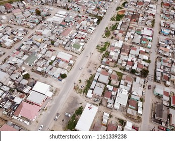Aerial view over South African township