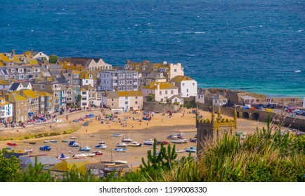 Aerial view over St Ives in Cornwall England