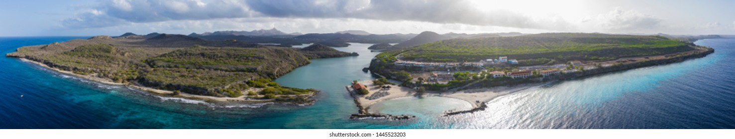 Aerial view over St. Martha bay on the western side of  Curaçao/Caribbean /Dutch Antilles