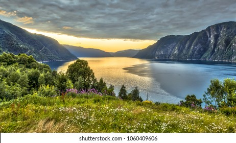 Aerial View over Storfjord from Stranda viewpoint at sunset in province of More og Romsdal Norway