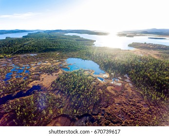 Aerial view over a swamp and lakes in Finnish Lapland