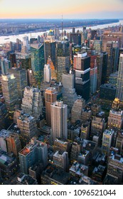 Aerial view over Times Square area, New York at sunset in 2007.