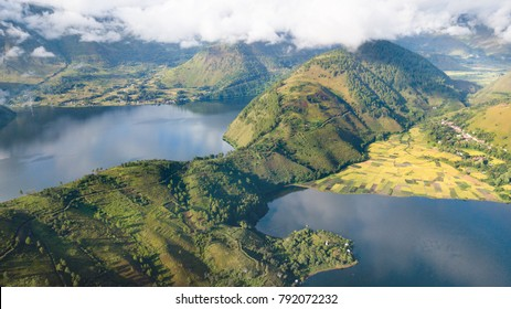 Aerial view over Toba lake,North Sumatra,Indonesia