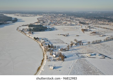 aerial view over the town and river