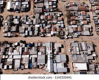 Aerial view over a township in South Africa