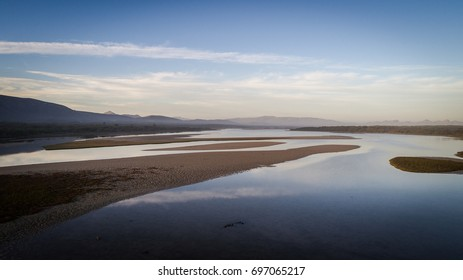 Aerial view over the Uilenkraalsmond estuary just outside Gansbaai in the Overberg region in the Western Cape of South Africa.