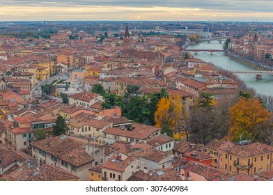Aerial view over Verona at the sunset light, Italy.