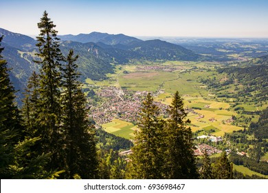 Aerial view over the village of Oberammergau in the bavarian alps.