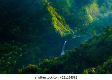 Aerial view overlooking Waimea Canyon State Park, Kauai, Hawaii, USA