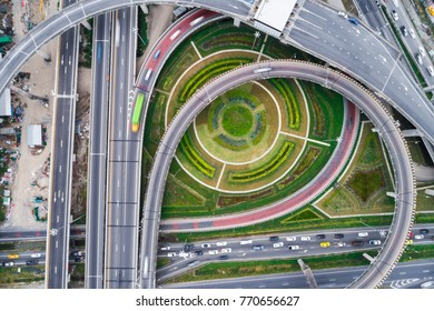 Aerial view overpass traffic with car move transport background