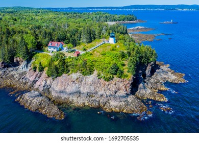 Aerial view of Owls Head Light located at the entrance of Rockland Harbor on western Penobscot Bay in the town of Owls Head, Knox County, Maine