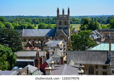 An aerial view of Oxford, England, with the tower of Merton College Chapel, one of the oldest churches of the city. Merton College is one of the colleges of the famous Oxford University