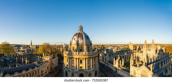 Aerial view of the Oxford University City viewed from the top tower of St Marys Church at sunset