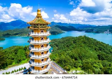 Aerial view of Pa Cien Pagoda in Nantou, Taiwan Pacien pagoda, Sun Moon Lake, Nantou, Taiwan