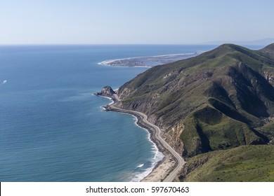 Aerial view of Pacific Coast Highway at Point Mugu between Malibu and Oxnard California.