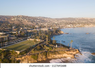 Aerial View of the Pacific Coast. Laguna Beach at sunset. Orange County, California USA.